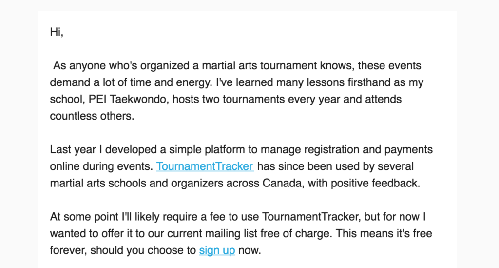 The beginning of a promotional email MemberTracker recently sent to our mailing list via Mailchimp.