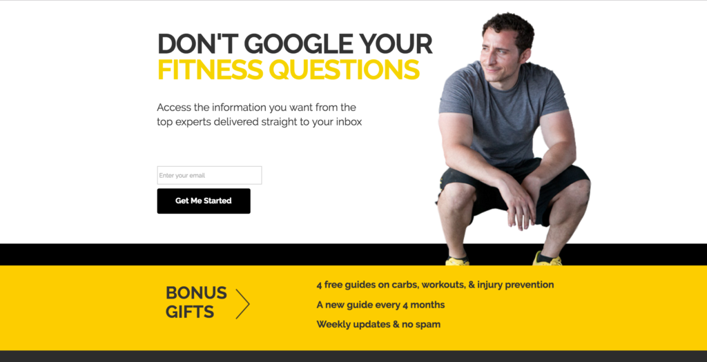 fitness landing page example