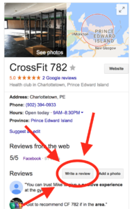 CrossFit 782 Google My Business Screenshot